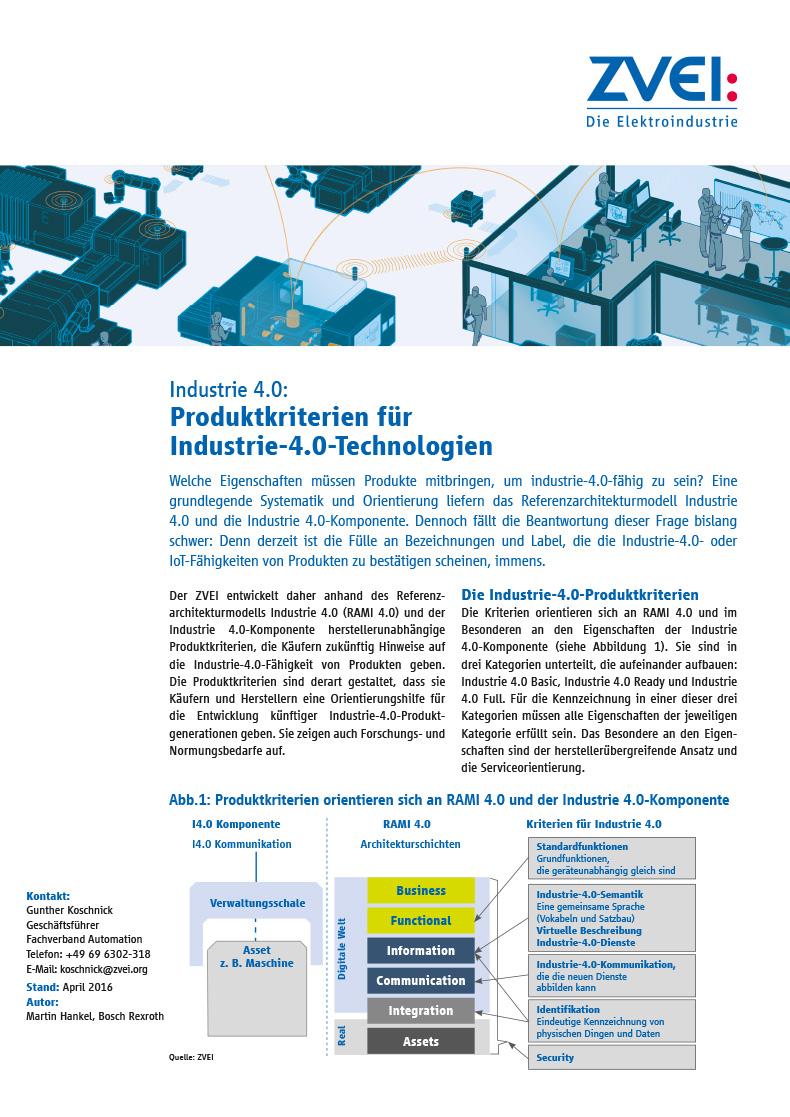 Industrie 4.0: Produktkriterien für Industrie-4.0-Technologien ...