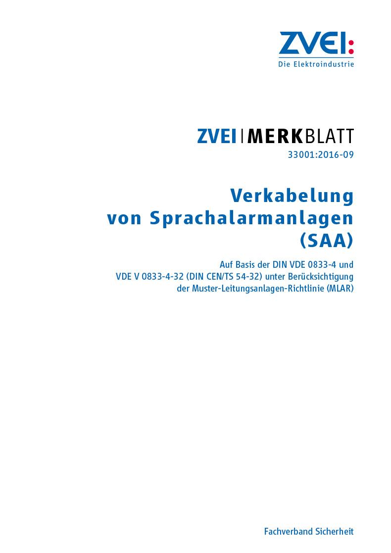 Verkabelung von Sprachalarmanlagen (SAA) - ZVEI-Merkblatt 33001:2016 ...