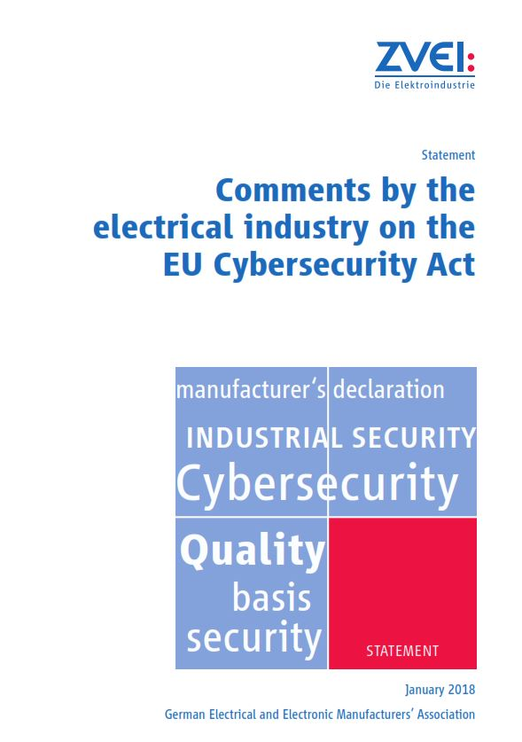 Comments By The Electrical Industry On The Eu Cybersecurity Act