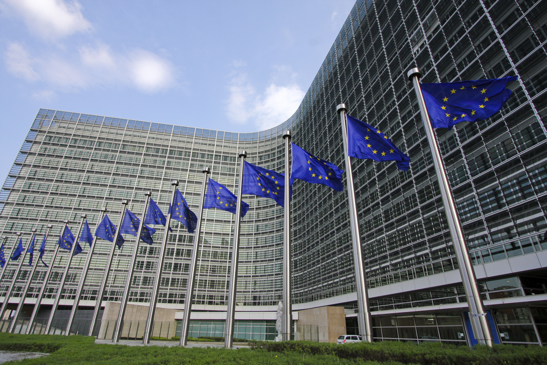 EU flags outside the European Commission Brussels Belgium.